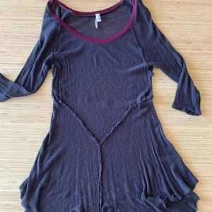 Free People Dark Grey Gauze Tunic
